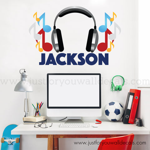 Music Monogram Wall Decal, Teen Wall Decal