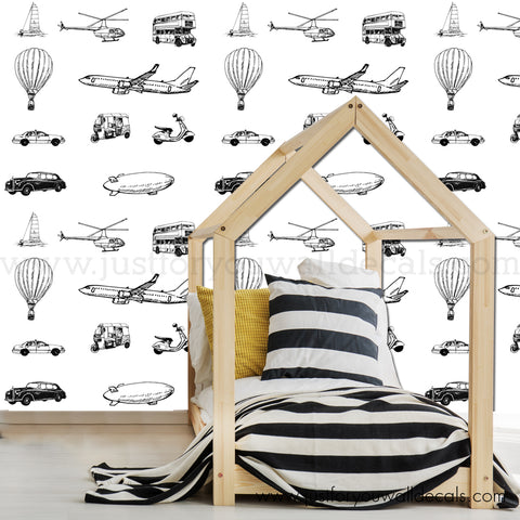 Car Transportation Removable Wallpaper, Boys Removable Wallpaper