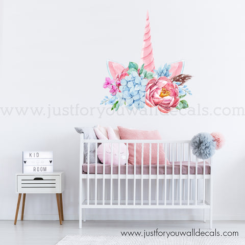 Unicorn Wall Decal, Floral Unicorn Wall Decal