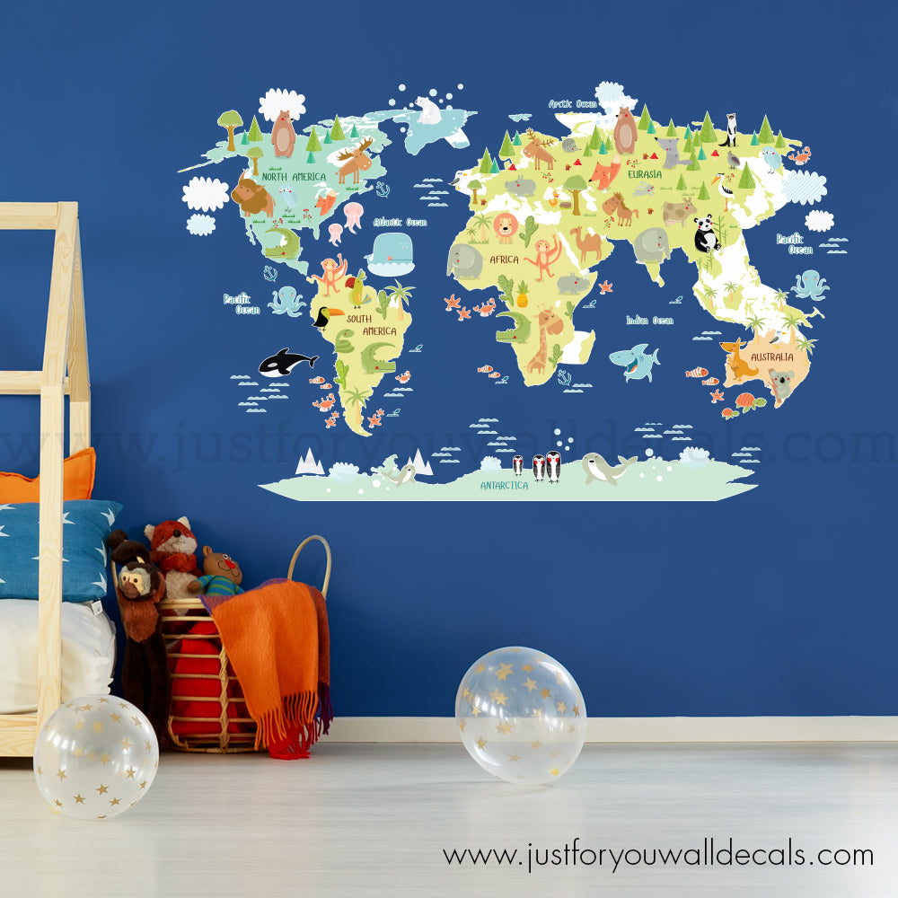 Map Wall Decal - World Map Wall Decal for Kids  sc 1 st  Just For You Decals & Map Wall Decal - Kids Room u2013 Just For You Decals - Wall Decals ...