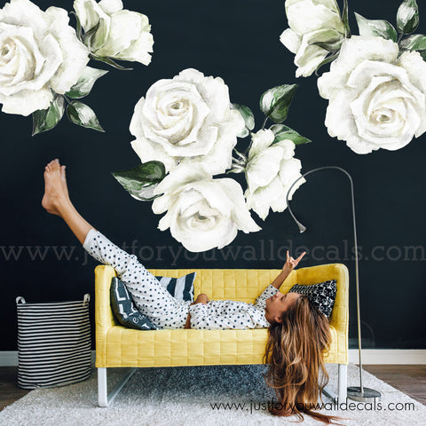 White Rose Floral Wall Decals
