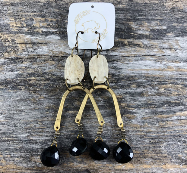 Sheppards Hook- Moondrop Earrings - Black Spinel