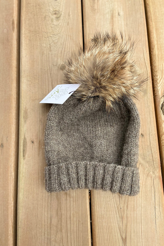 KNITS- 100% Manitoba Wool Dark Taupe Toque