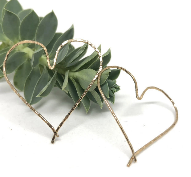 Naked Sage-Gold Heart Hoop Threader Earrings