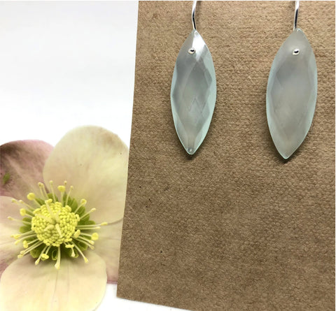Naked Sage- Marquis Earrings- Chalcedony
