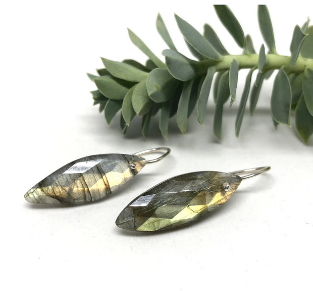 Naked Sage- Labradorite- Marquis Earrings
