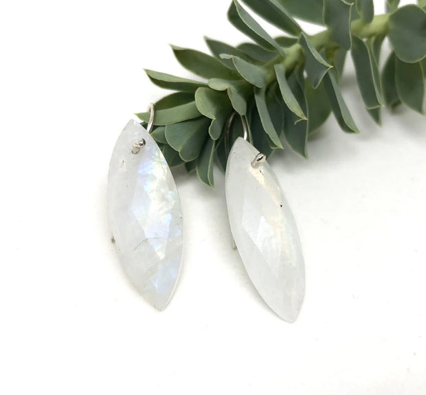 Naked Sage- Marquis Earrings- Rainbow Moonstone