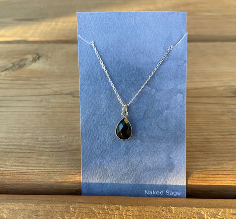 Naked Sage- Onyx- Rain Necklace
