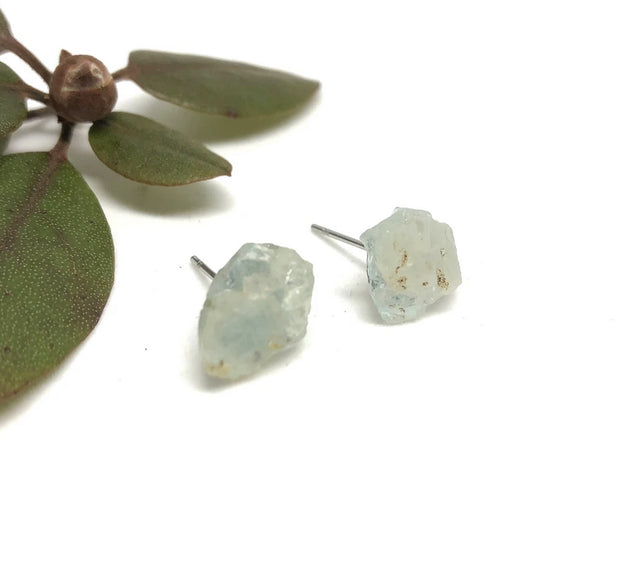 Naked Sage- Raw Aquamarine Studs