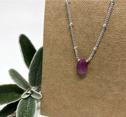 Naked Sage- Ruby Silver Necklace