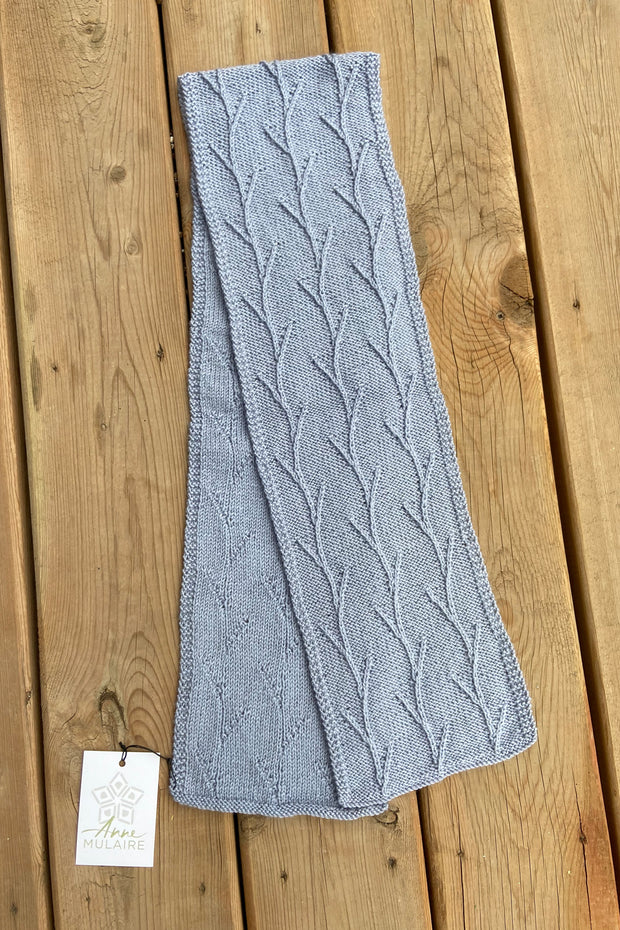 KNITS- 100% Merino Wool Scarf with beads- Periwinkle