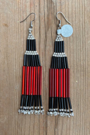 BWilson- Red/silver short beaded Earring