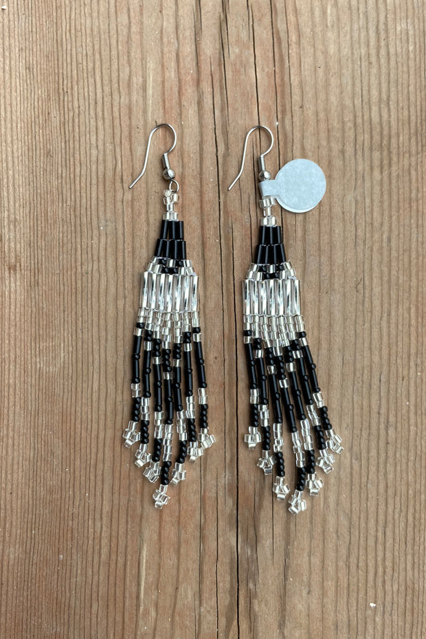 BWilson- Black/ Silver Beaded Earring