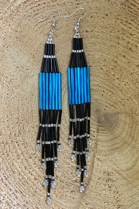 BWilson- Cobalt/ Black Beaded Earring