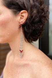 BWilson- Maroon long beaded Earring