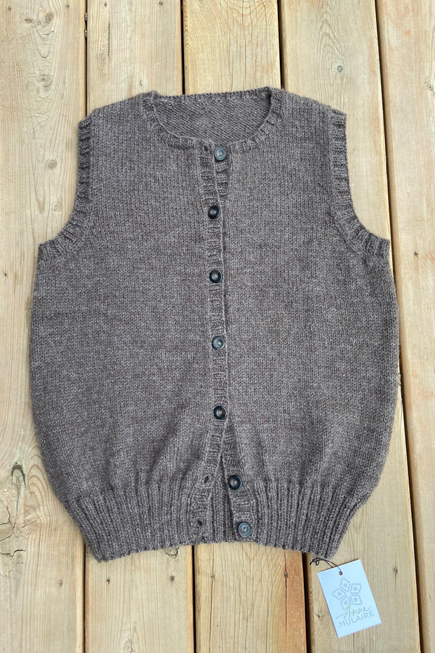 KNITS- Handknit Vest with buttons- Champagne