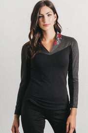 Merlot Blouse- Embroidered