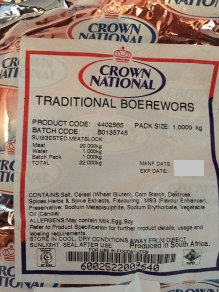 Traditional Boerewors Spice 1kg