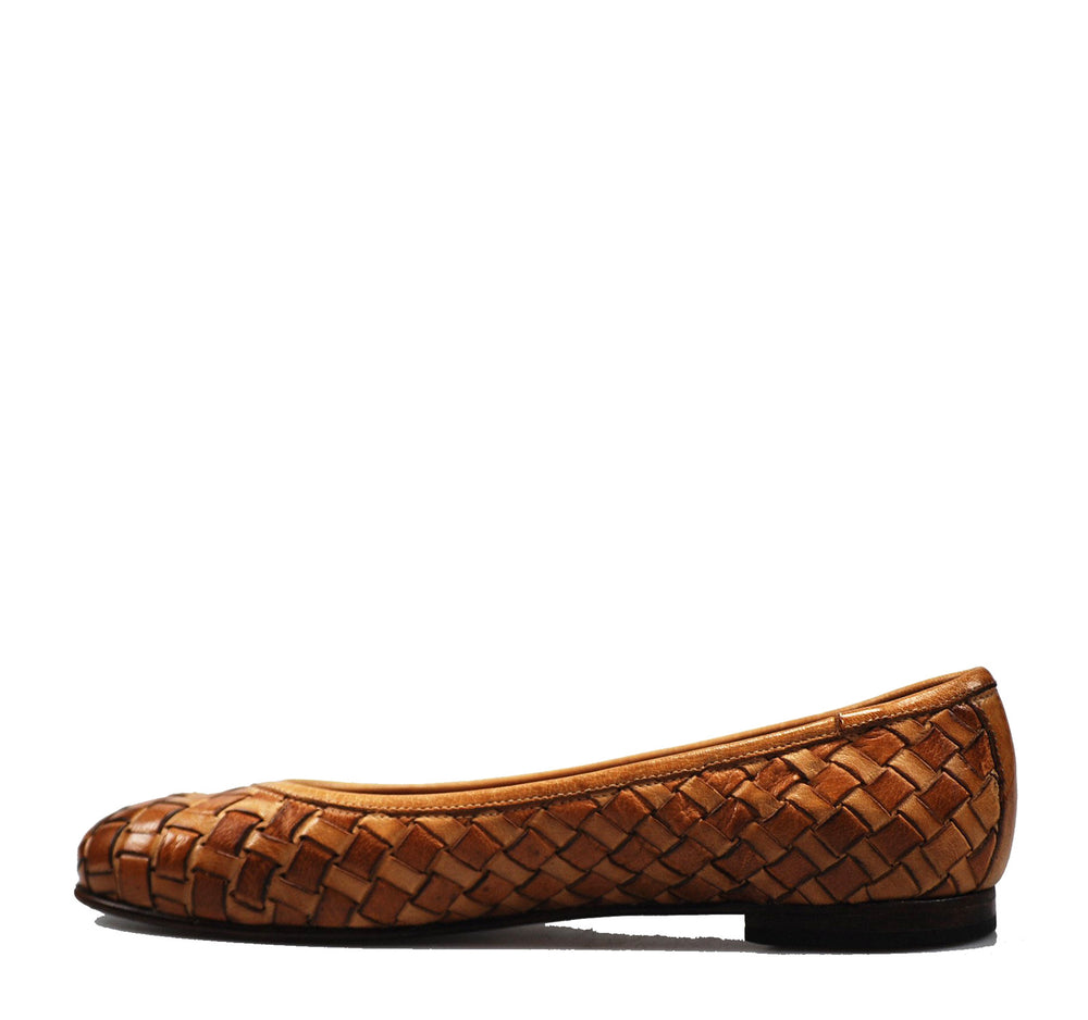 Calzoleria Toscana Melania Woven Women's Flat in Brick - Calzoleria Toscana - On The EDGE