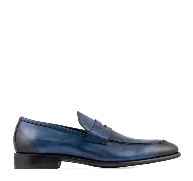 Calzoleria Toscana Noto Men's Penny Loafer in Ocean