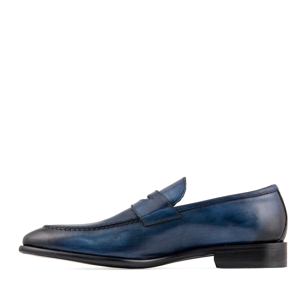 Calzoleria Toscana Men's Penny Loafer in Ocean - Calzoleria Toscana - On The EDGE