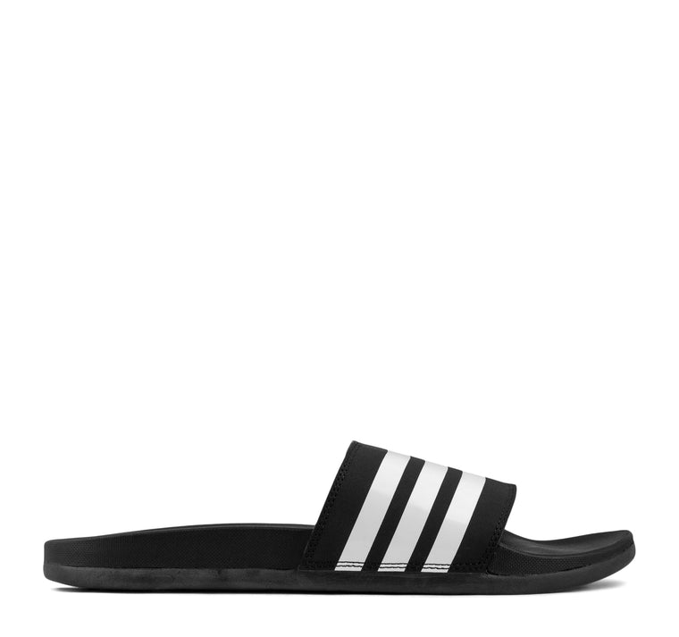 Adidas Adilette Cloudfoam Plus Slide in Black and White