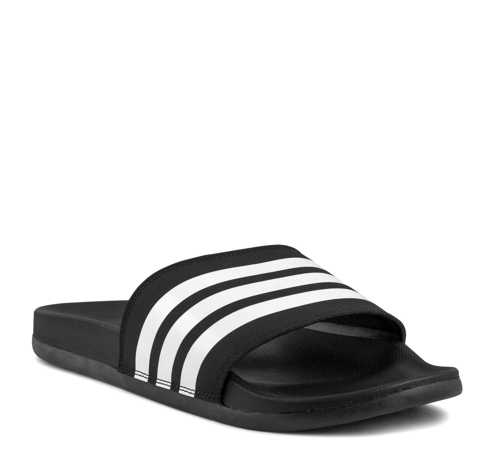 ... Adidas Adilette Cloudfoam Plus Slide in Black and White - Adidas - On  The EDGE ... 9ad94b602