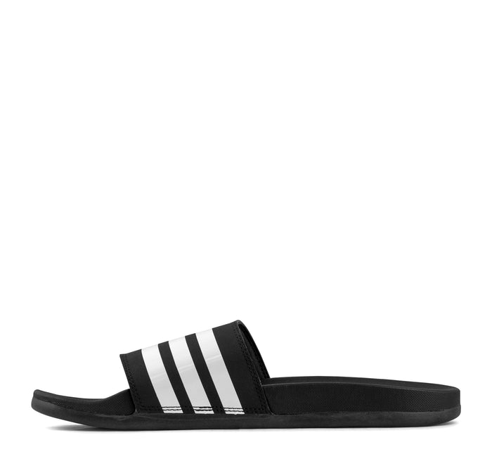 Adidas Adilette Cloudfoam Plus Slide in Black and White - Adidas - On The EDGE