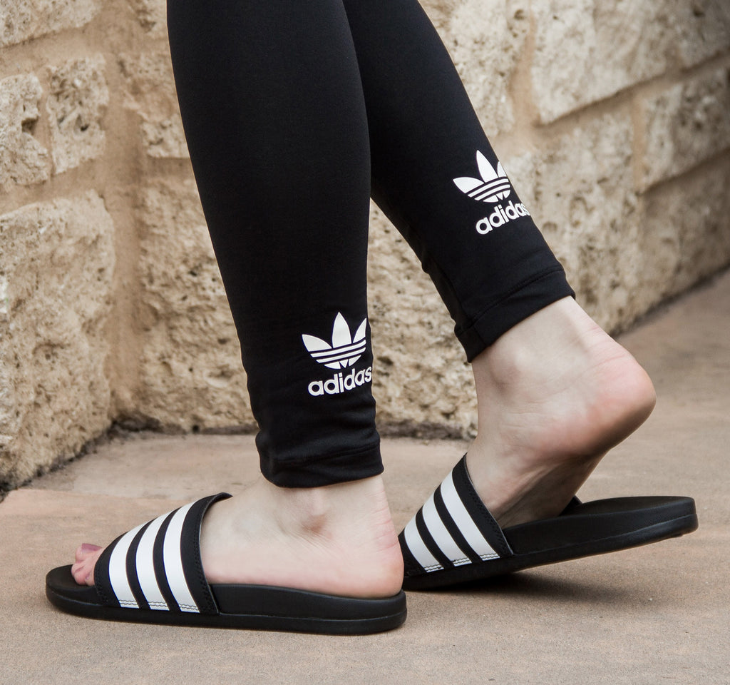 Adidas Adilette Cloudfoam Plus Slide AP9971 in Black and White - Adidas - On The EDGE