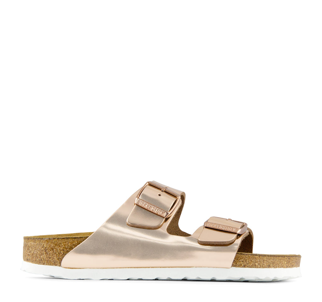 Birkenstock Arizona Soft Footbed Women's Leather Sandal in Metallic Copper - Birkenstock - On The EDGE