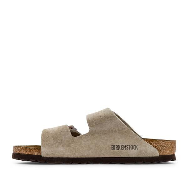 Birkenstock Arizona Soft Footbed Suede Sandal in Taupe - Birkenstock - On The EDGE