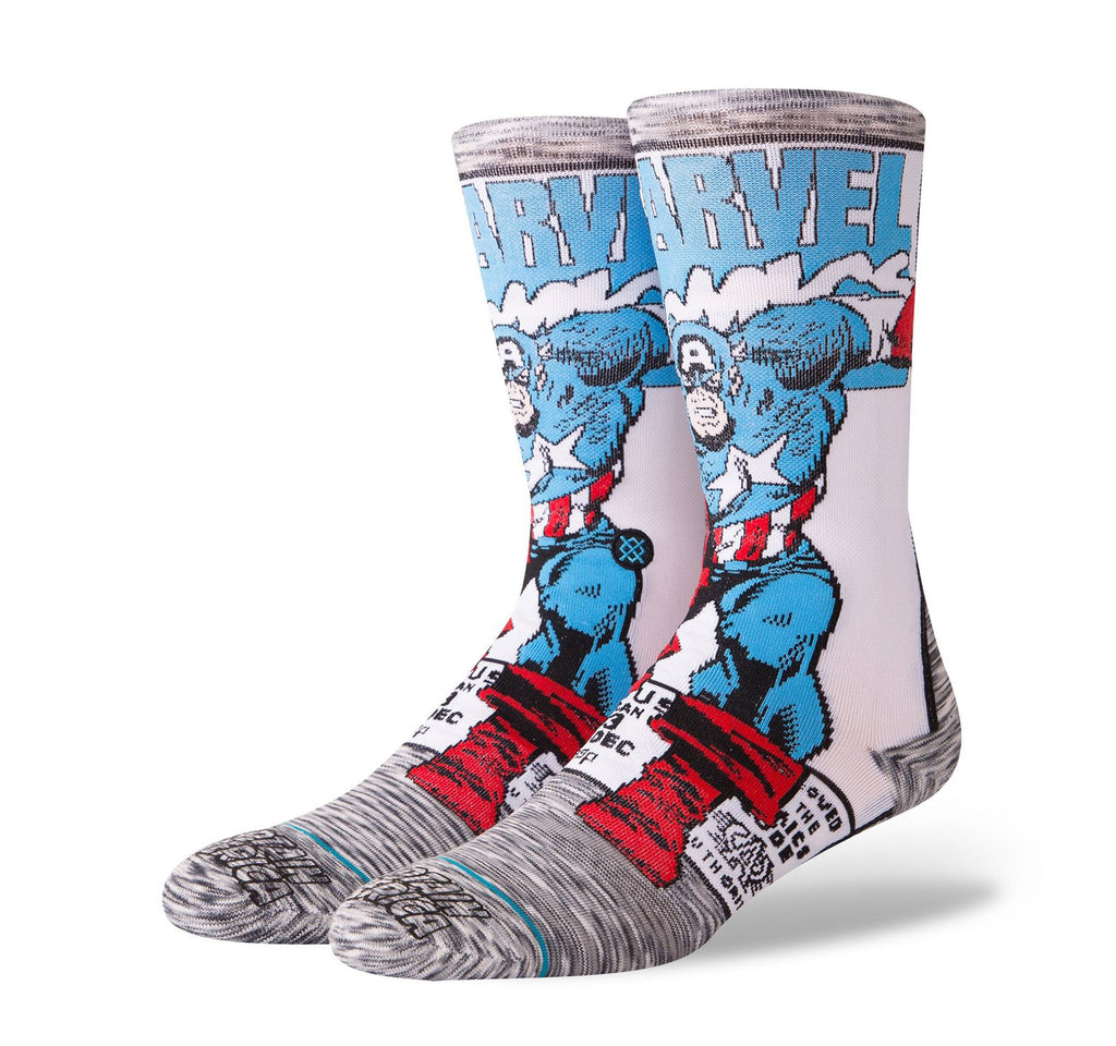 Stance Everyday Crew Men's Socks in Captain America Comic - On The EDGE