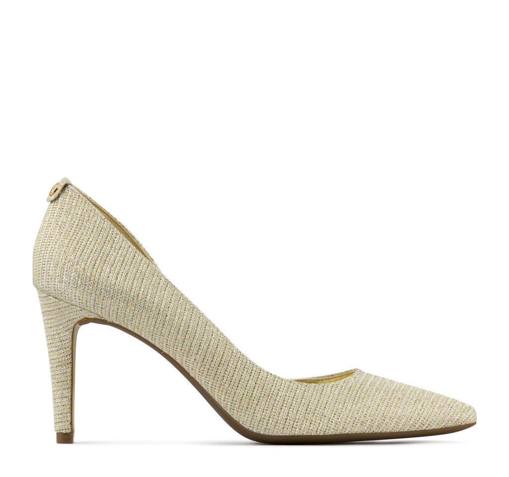 Michael Kors Dorothy Flex D'orsay Heel in White and Gold - Michael Kors - On The EDGE