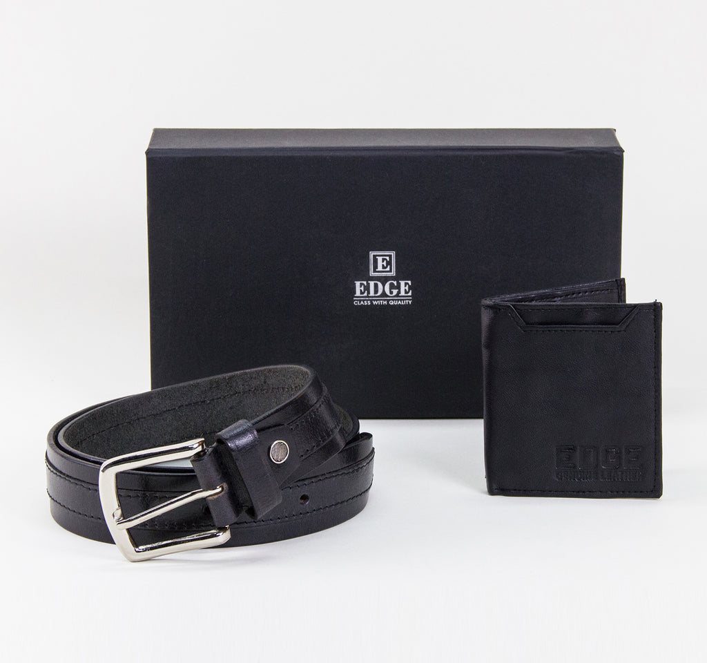 EDGE Accessory Set with Belt and Logo Wallet in Black - EDGE - On The EDGE