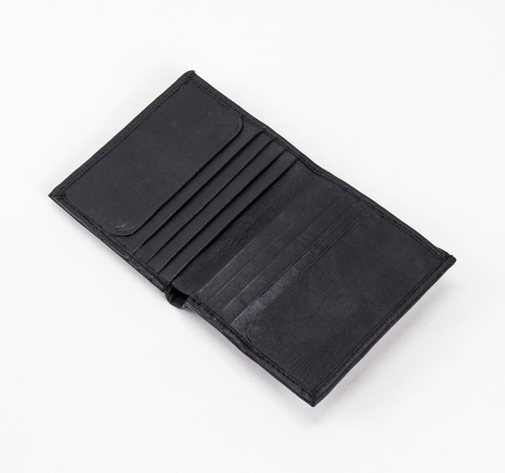 EDGE Bi-Fold Leather Wallet with Logo in Black - EDGE - On The EDGE