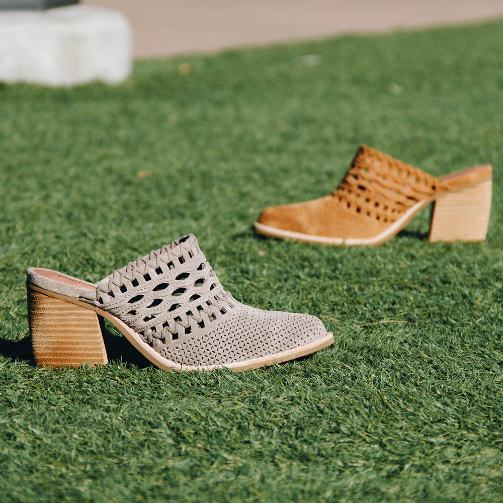 Jeffrey Campbell Favela Woven Mule in Tan Suede - Jeffrey Campbell - On The EDGE