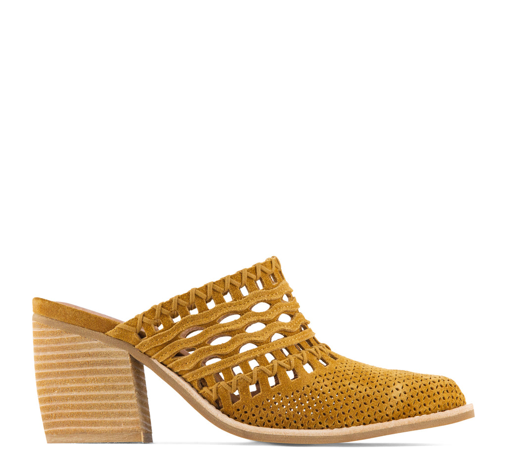 Jeffrey Campbell Favela Woven Women's Mule in Tan Suede - Jeffrey Campbell - On The EDGE
