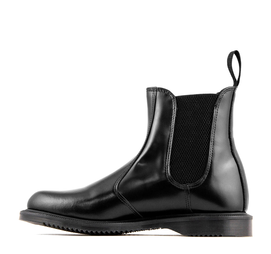 Dr. Martens Flora Smooth Women's Boot in Black Polished - Dr Martens - On The EDGE