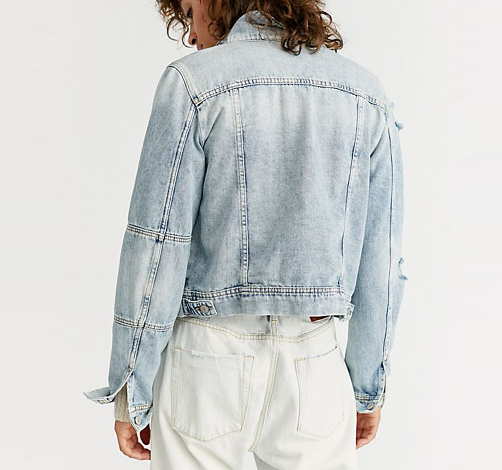Free People Rumors Denim Jacket in Light Wash