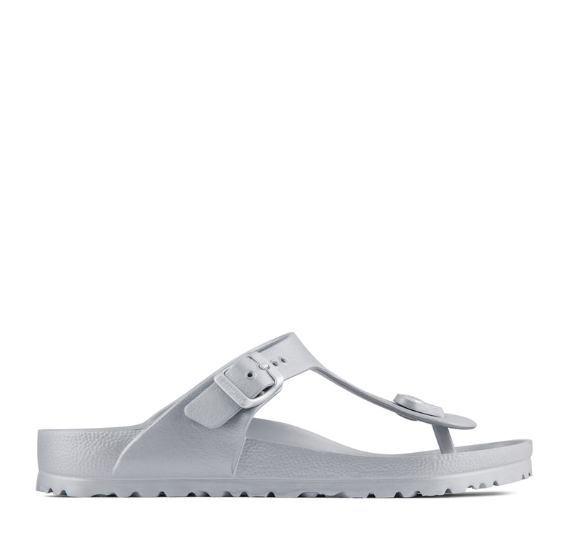 806f887cc ... Birkenstock Gizeh EVA Women s Sandal in Metallic Silver - Birkenstock -  On The ...