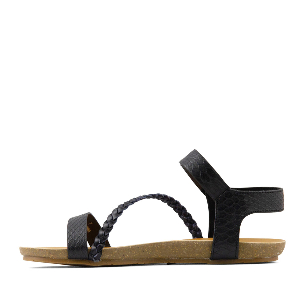 Blowfish Goya Sandal in Black Snake - Blowfish Malibu - On The EDGE
