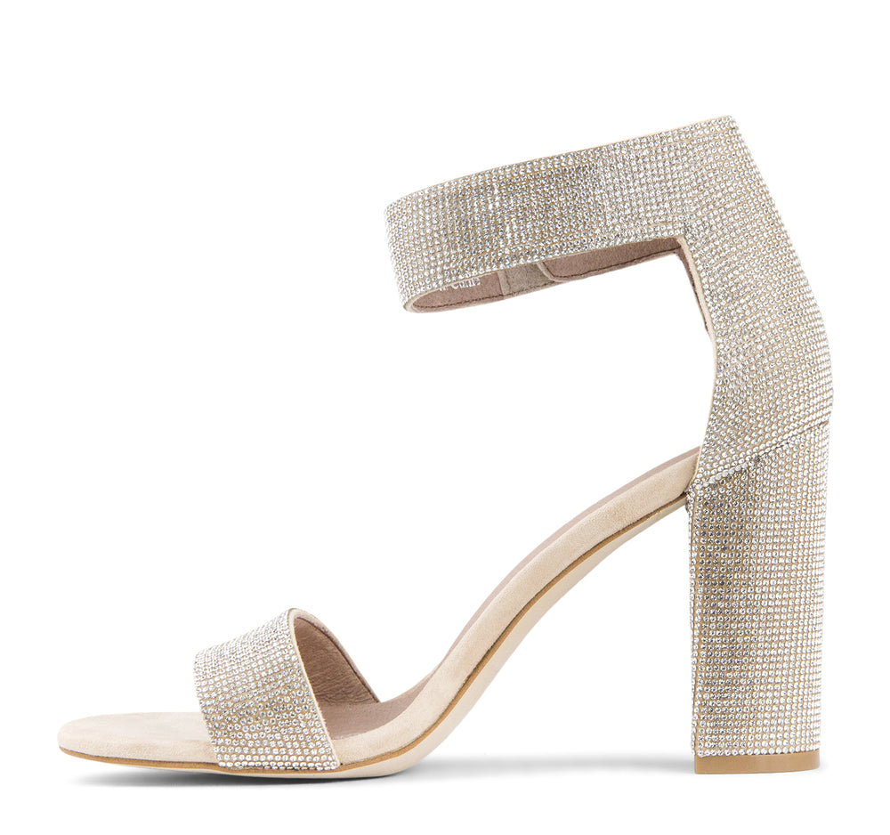 Jeffrey Campbell Lindsay Sandal in Nude Suede Champagne - Jeffrey Campbell - On The EDGE
