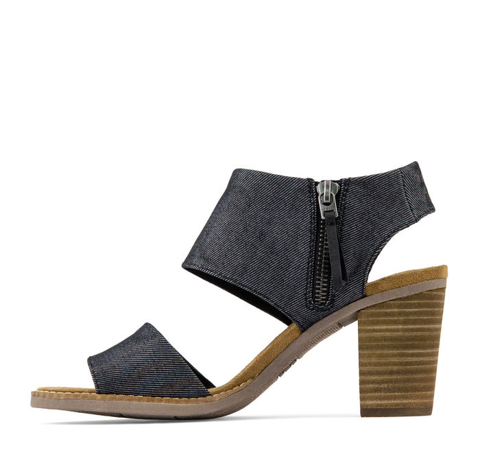 Toms Majorca Cutout Women Sandals in Black Denim