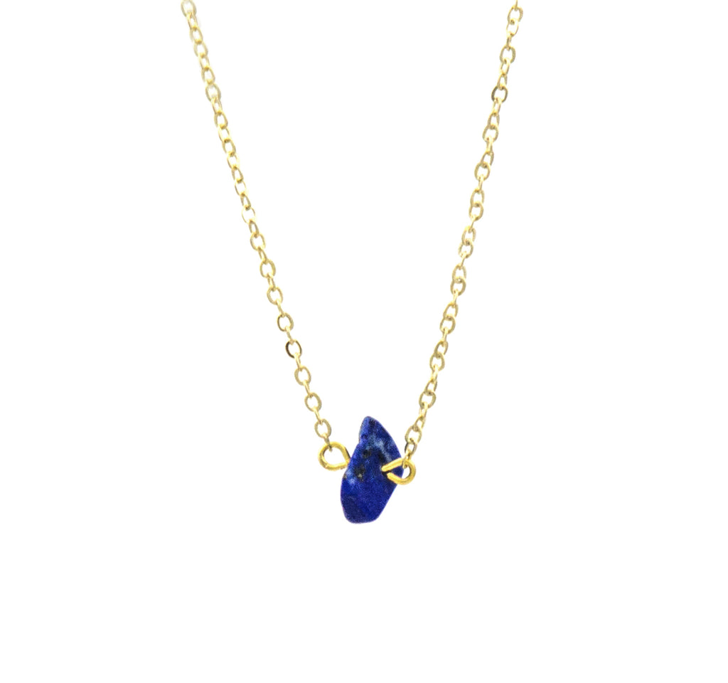 Small Stone Necklace with Gold Plated Chain - Luxe Group - On The EDGE