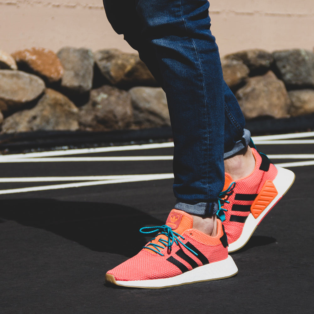 6920786b0 ... Adidas NMD R2 Summer CQ3081 Men s Sneaker in Orange and White - Adidas  - On The ...