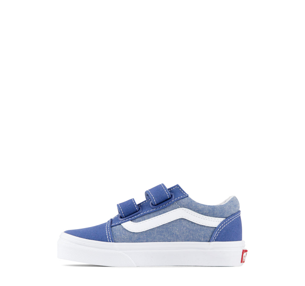 Vans Old Skool V Kids Sneakers in Blue Chambray - Vans - On The EDGE