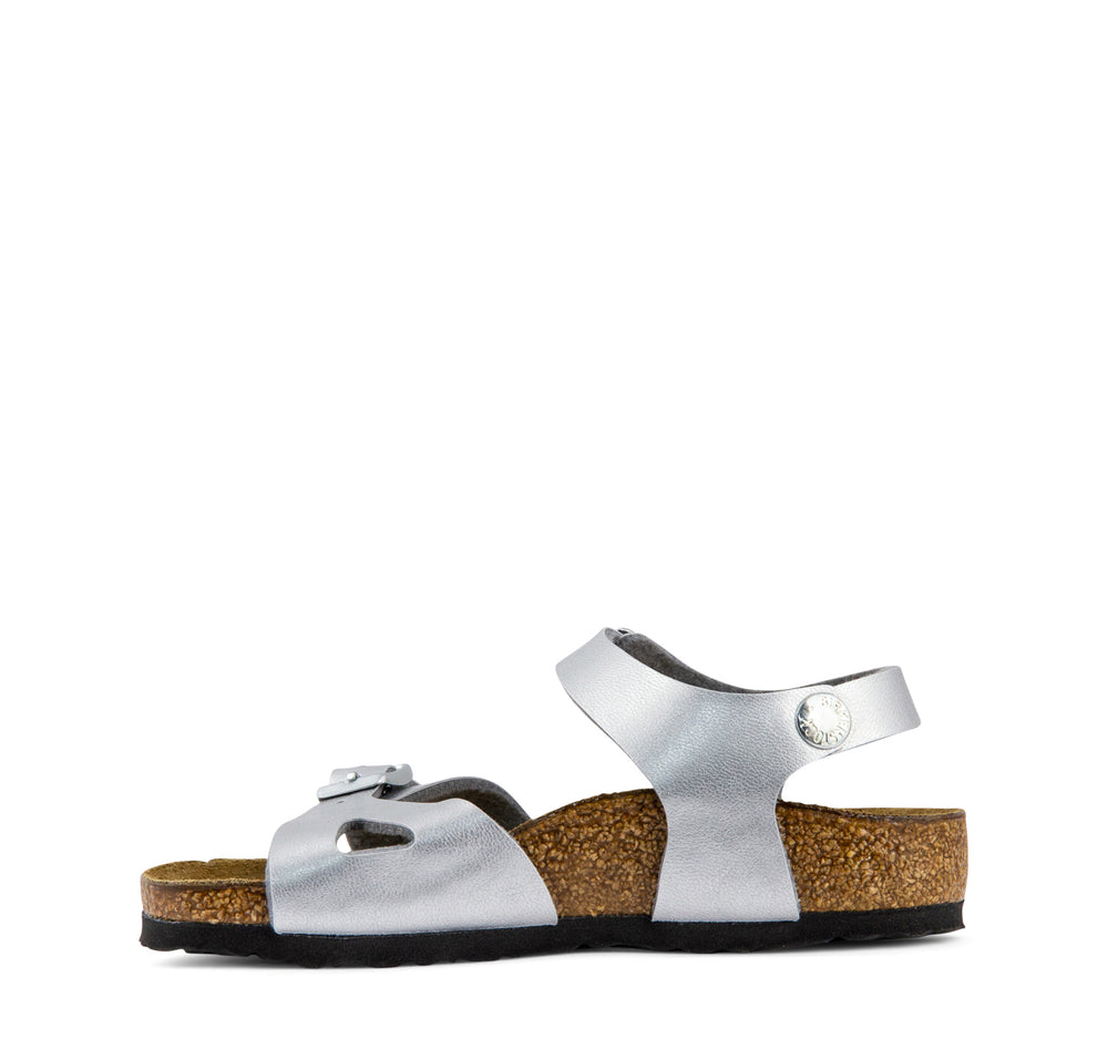 Birkenstock Rio Birko-Flor Kids' Sandal in Silver - Birkenstock - On The EDGE