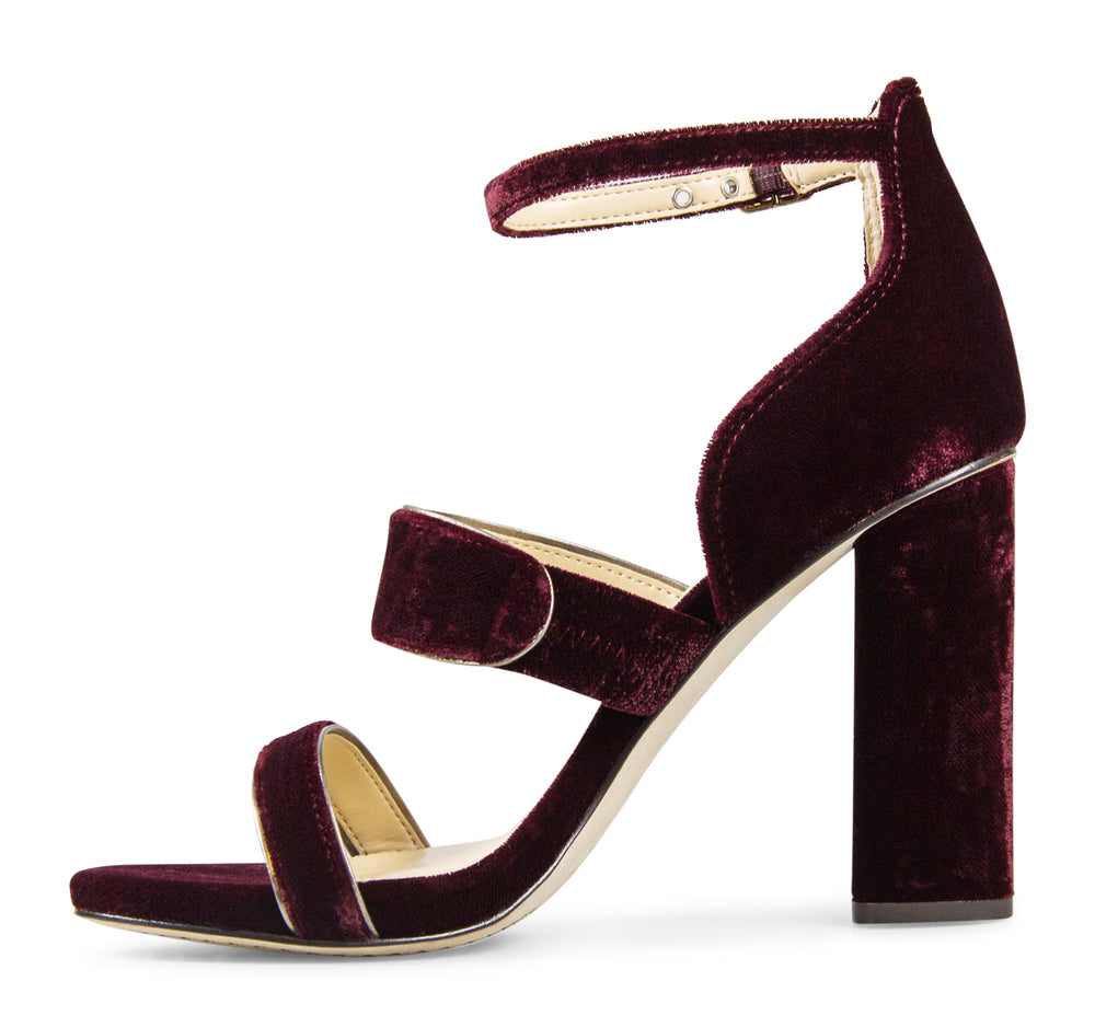 Vince Camuto Robeka Sandal in Wine Velvet and Metal - Vince Camuto - On The EDGE