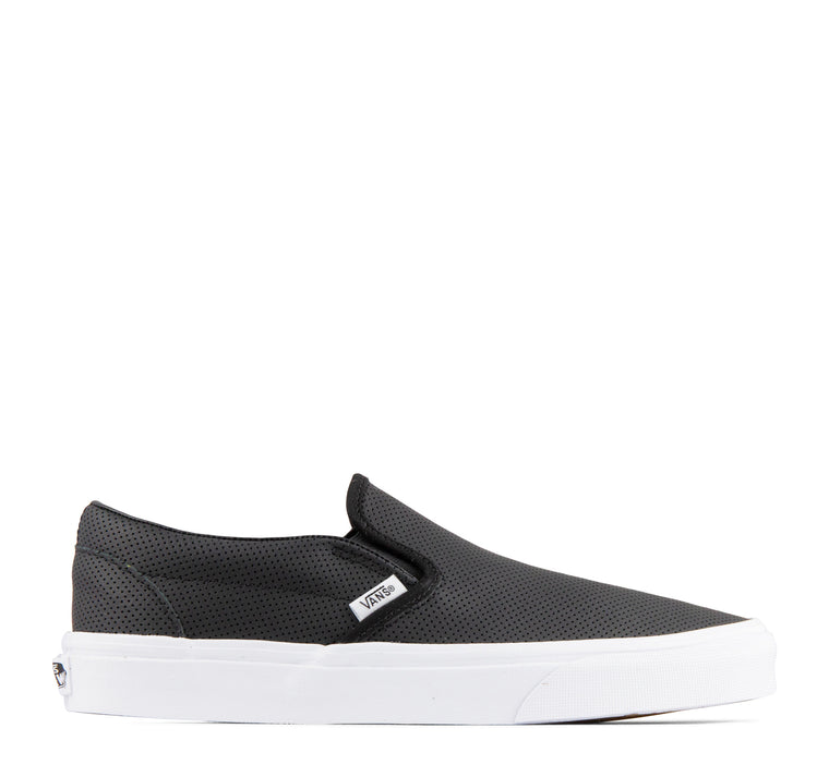 Vans Slip On Perf Leather Sneaker in Black