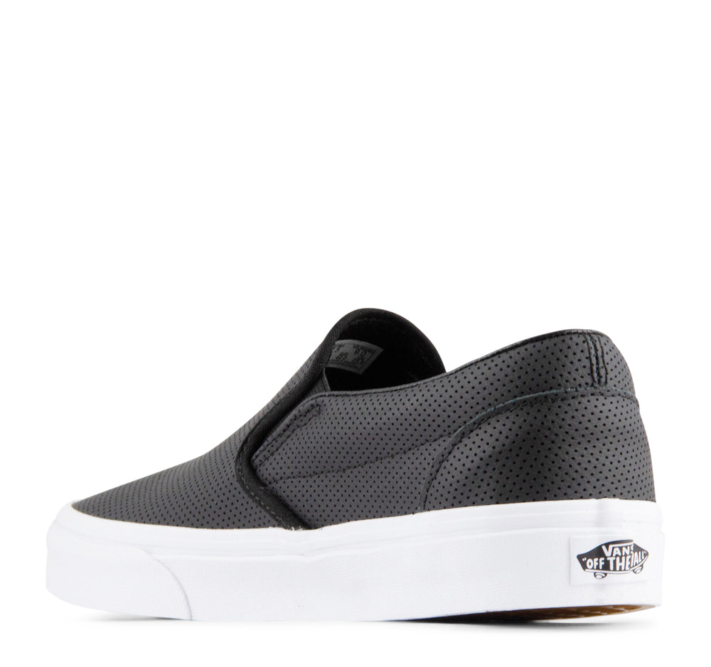 Vans Classic Slip-On Perf Leather Sneaker in Black - Vans - On The EDGE